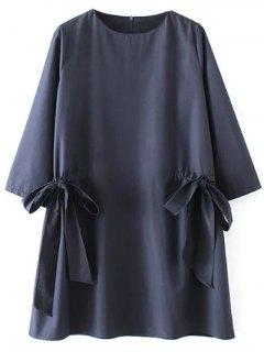 Bow Tie Tunic Dress - Purplish Blue L