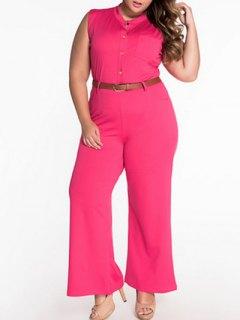 Sleeveless Belted Plus Size Jumpsuit - Tutti Frutti L