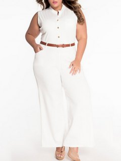 Sleeveless Belted Plus Size Jumpsuit - White L