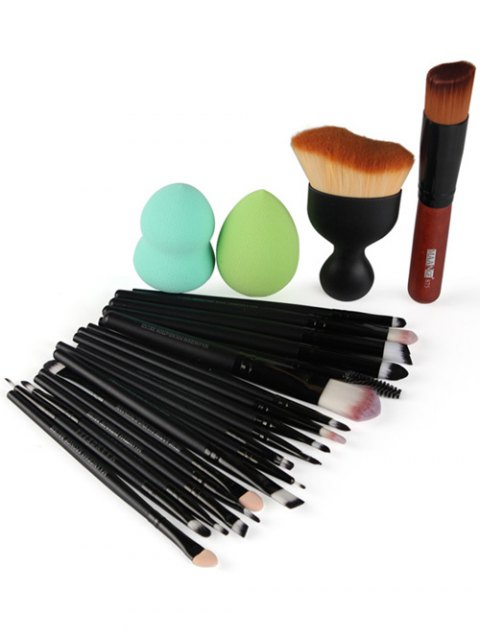 buy 22 Pcs Face Eye Makeup Brushes and Makeup Sponges - BLACK  Mobile