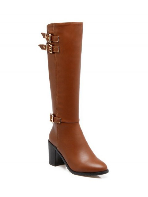 women Buckles Chunky Heel Zipper Boots - BROWN 39 Mobile