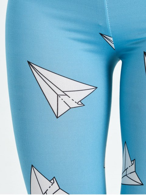 fancy High Waist Skinny Geometric Print Leggings - LAKE BLUE L Mobile