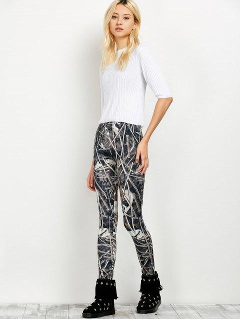 women Elastic Waist Print Leggings - FLORAL L Mobile