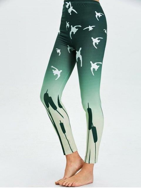 sale High Waist Skinny Ombre Print Leggings - BLACKISH GREEN XL Mobile