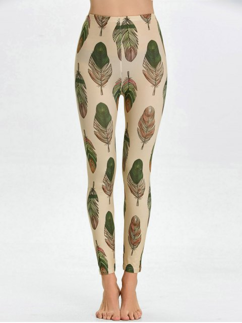 outfits High Waist Skinny Leaf Print Leggings - APRICOT L Mobile