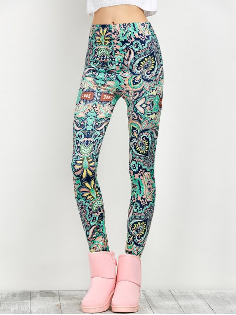 fancy Mid Rise Skinny Print Leggings - FLORAL M Mobile