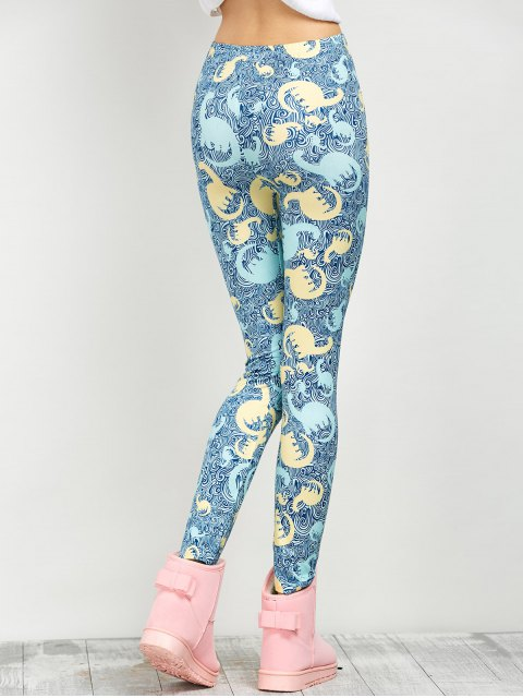 buy Mid Rise Elastic Print Leggings - FLORAL XL Mobile