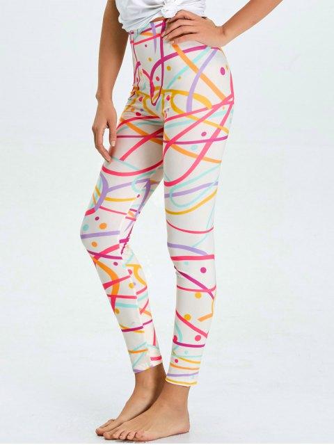 sale High Waist Skinny Graphic Leggings - WHITE L Mobile