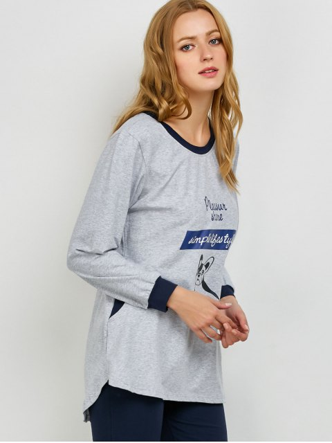 shop Puppy Print Sweatshirt and Leggings Lounge Set - GRAY M Mobile