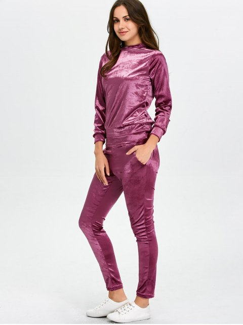 chic Stand Collar Velvet Tee and Velvet Sport Pants - PURPLISH RED M Mobile