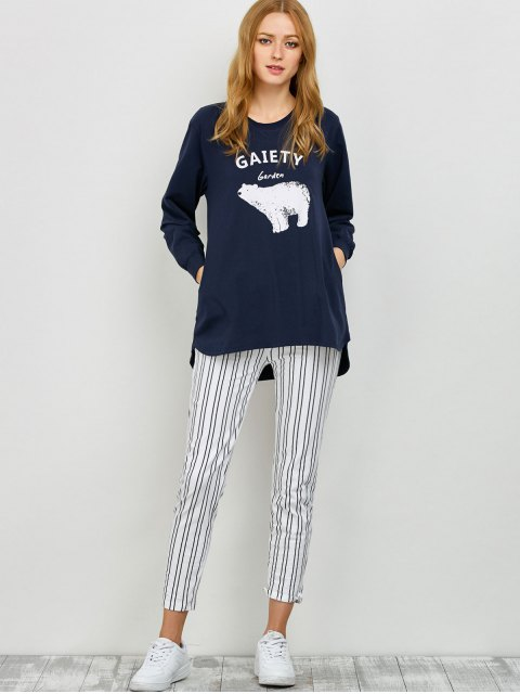 trendy Slouchy Sweatshirt and Leggings Lounge Set - PURPLISH BLUE M Mobile