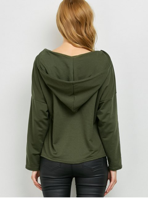 outfits V Neck Lace Up Hoodie - ARMY GREEN L Mobile