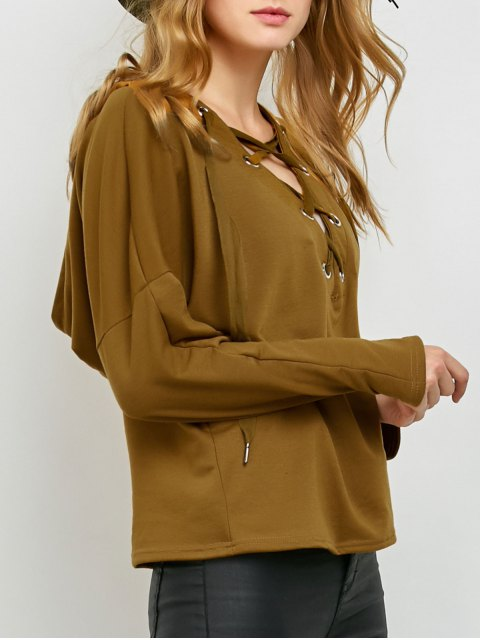 trendy V Neck Lace Up Hoodie - KHAKI L Mobile