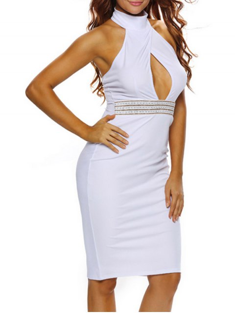 affordable Halter Cut Out Backless Bodycon Dress - WHITE M Mobile