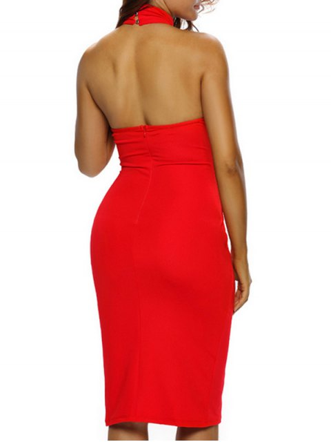 women Halter Cut Out Backless Bodycon Dress - RED M Mobile