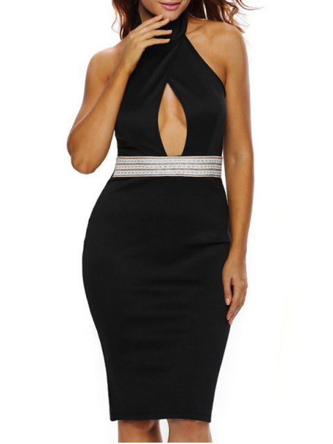 ladies Halter Cut Out Backless Bodycon Dress - BLACK L Mobile
