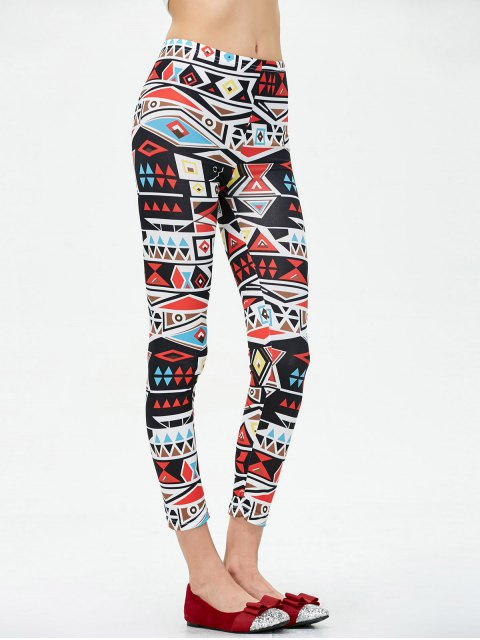 ladies Mid Rise Patterned Stretchy Leggings - COLORMIX L Mobile