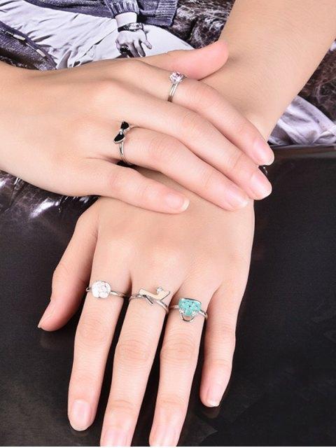 fashion Rhinestone Handbag Heels Rose Ring Set - SILVER 7 Mobile