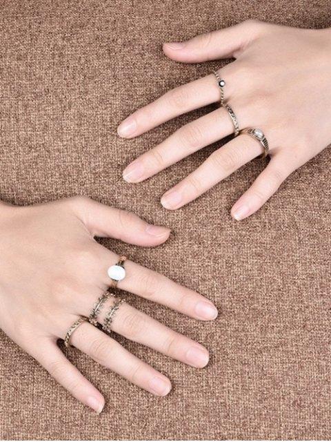 unique Faux Pearl Leaf Ring Set - GOLDEN 6 Mobile