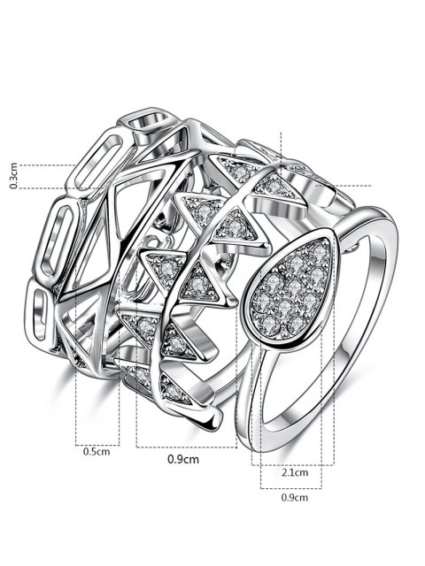 sale Rhinestoned Geometric Ring Set - SILVER 7 Mobile
