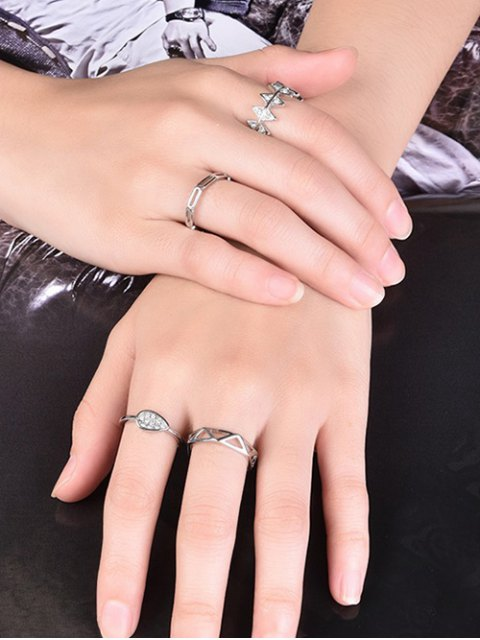 affordable Rhinestoned Geometric Ring Set - SILVER 6 Mobile