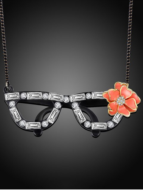 outfits Rhinestone Flower Glasses Necklace - BLACK  Mobile