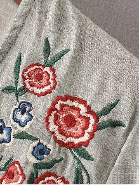 latest Peplum Hem Embroidered Blouse - GRAY S Mobile