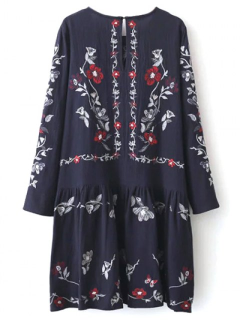 fancy Embroidered Shapeless Dress - CADETBLUE L Mobile