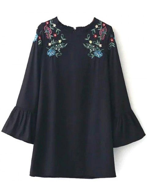 buy Frilled Embroidered Dress - BLACK M Mobile