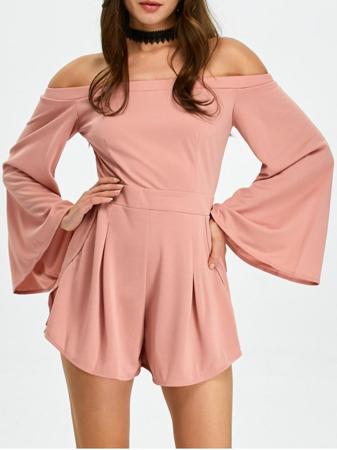 hot Flare Sleeve Off Shoulder Playsuit - PINK L Mobile