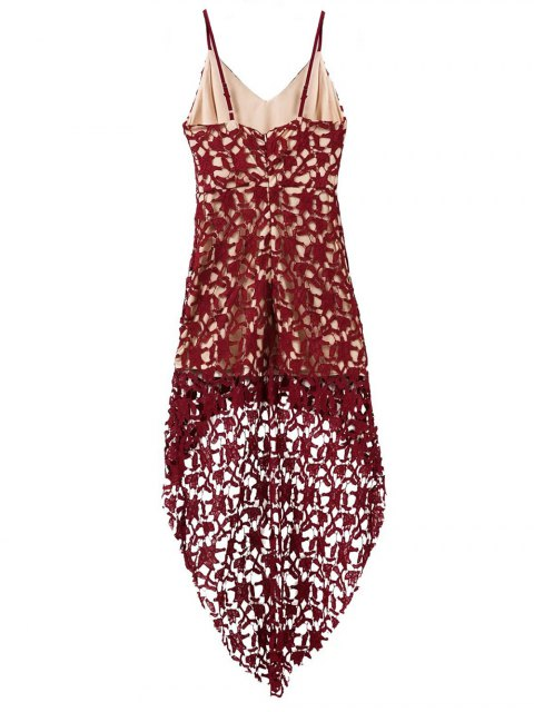 chic High Low Crochet Dress - BURGUNDY S Mobile