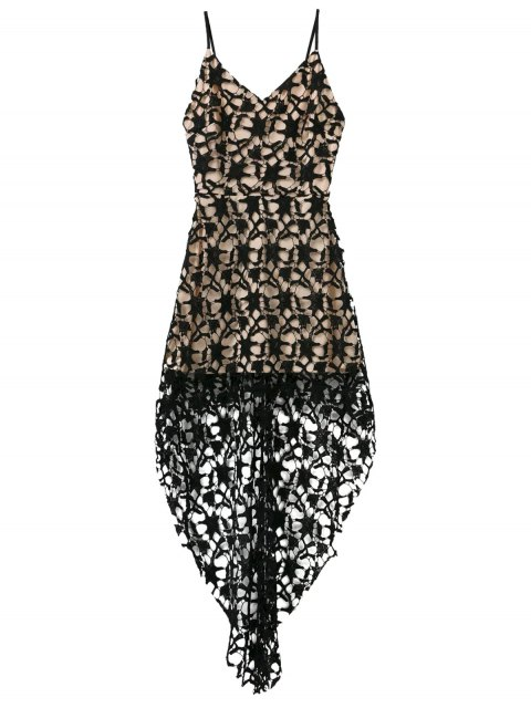 fancy High Low Crochet Dress - BLACK L Mobile
