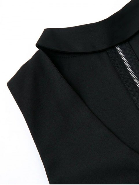 online Sleeveless Choker Neck Beach Romper - BLACK M Mobile
