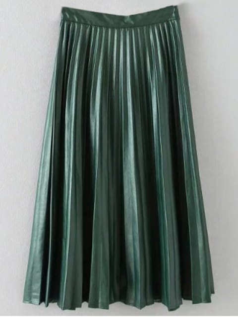 fashion Pleated PU Leather Long Skirt - ARMY GREEN L Mobile