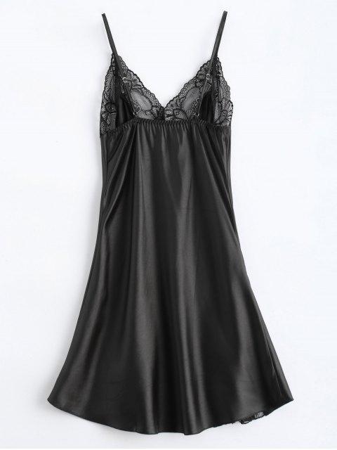 fancy Bowknot Lace Panel Babydoll - BLACK L Mobile