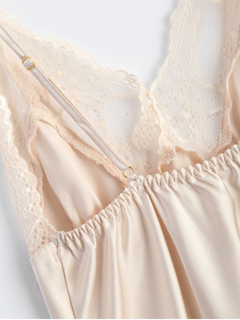 buy Bowknot Lace Panel Babydoll - APRICOT L Mobile