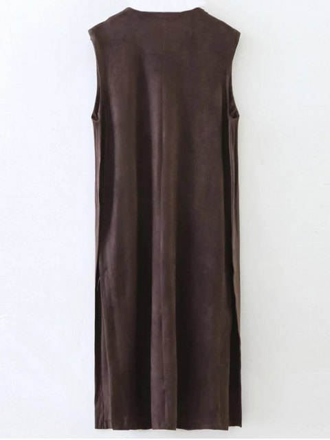outfits Collarless Side Slit Suede Waistcoat - COFFEE S Mobile