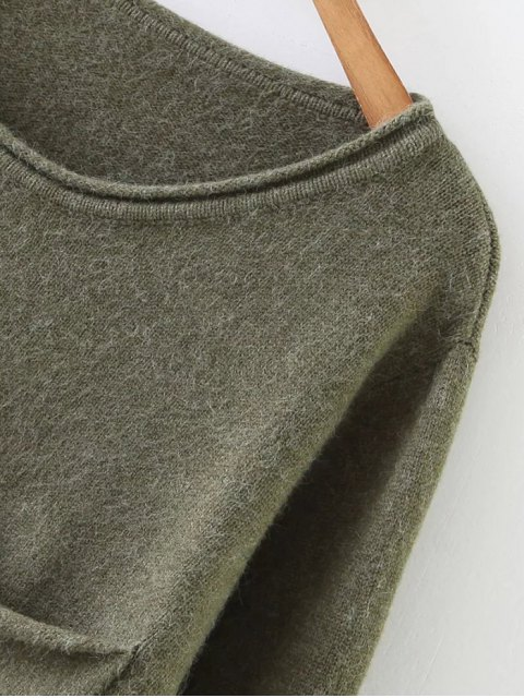 online Round Neck Ripped Sweater with Pocket - SAGE GREEN ONE SIZE Mobile