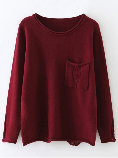 hot Round Neck Ripped Sweater with Pocket - BURGUNDY ONE SIZE Mobile