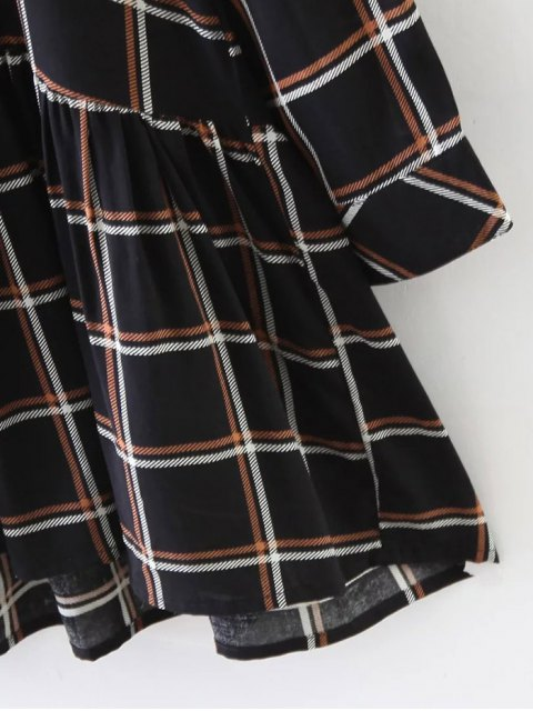 outfit Bow Tie Collar Plaid Dress - CHECKED S Mobile