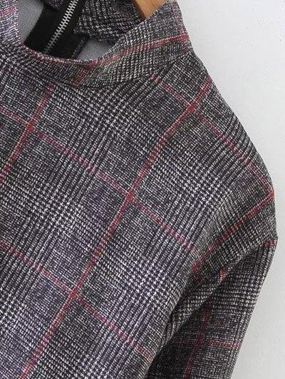 High Collar Ruffle Hem Dress - GRAY L Mobile