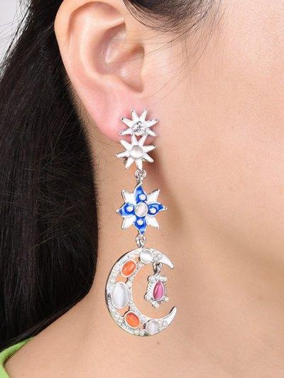 Artificial Pearl Opal Star Moon Earrings - SILVER  Mobile