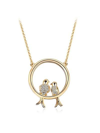 Rhinestone Birds Circle Pendant Necklace - GOLDEN  Mobile