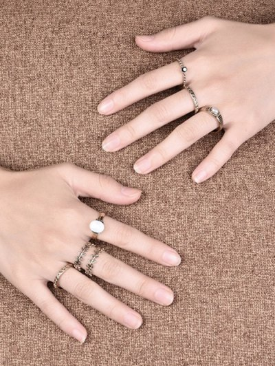 Faux Pearl Leaf Ring Set - GOLDEN 7 Mobile