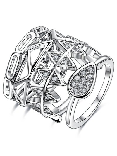 Rhinestoned Geometric Ring Set - SILVER 7 Mobile