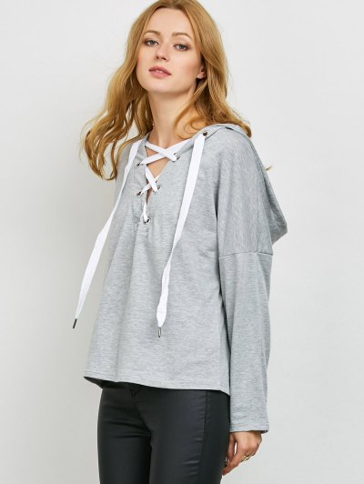 V Neck Lace Up Hoodie - LIGHT GRAY S Mobile