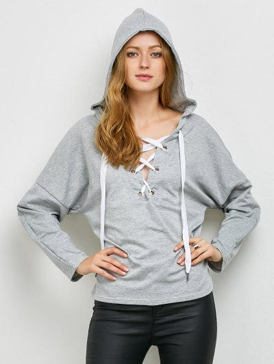V Neck Lace Up Hoodie - LIGHT GRAY XL Mobile