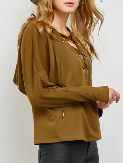 V Neck Lace Up Hoodie - KHAKI S Mobile
