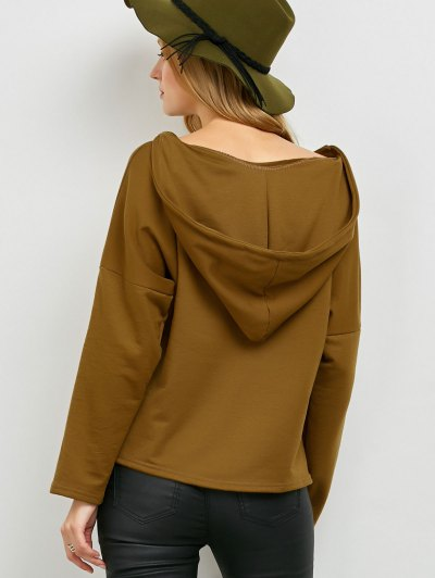 V Neck Lace Up Hoodie - KHAKI M Mobile