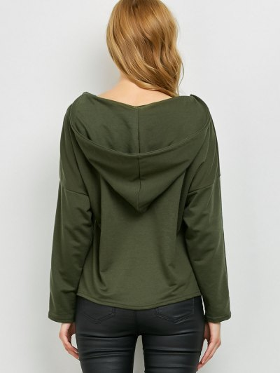 V Neck Lace Up Hoodie - ARMY GREEN M Mobile